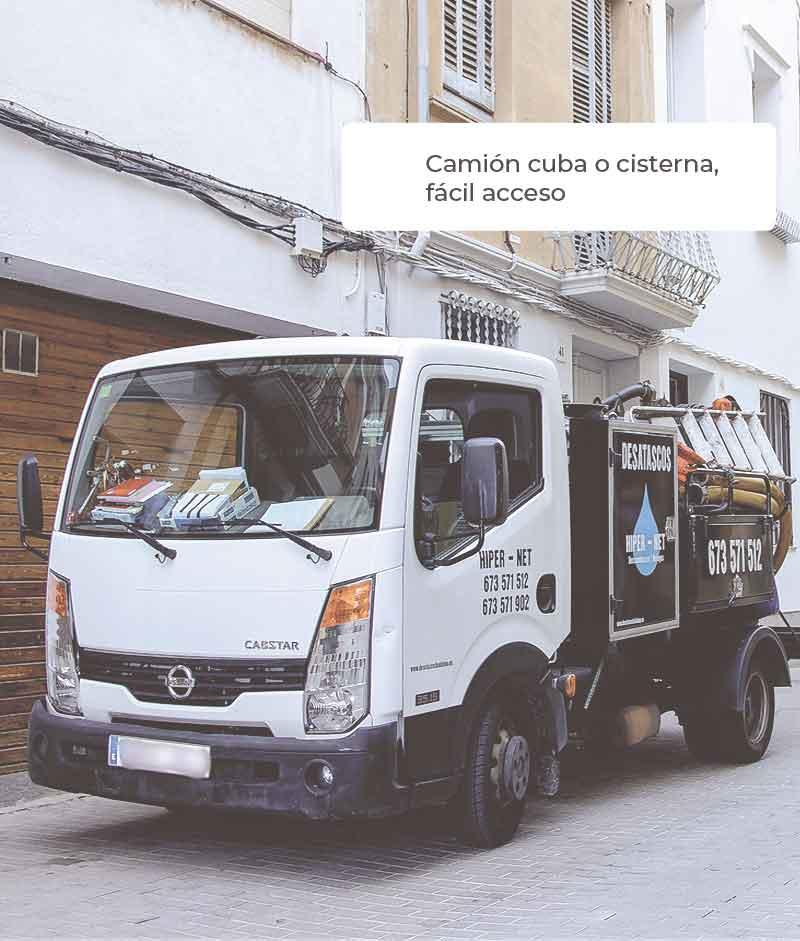 Camion cuba en Badalona. Desatascos de tuberías